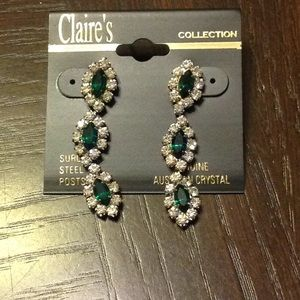 Faux diamond and emerald earrings